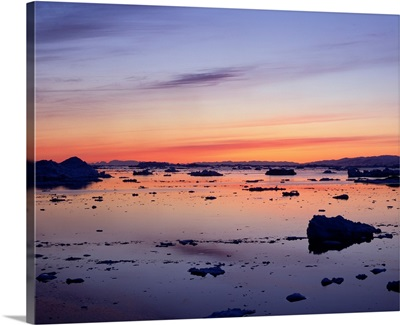 Landscapes, Sunset Over Icebergs