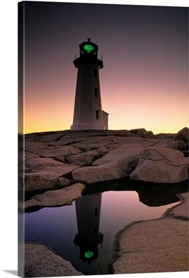 Lighthouse At Dawn, Peggys Cove, Halifax County Nova Scotia, Canada