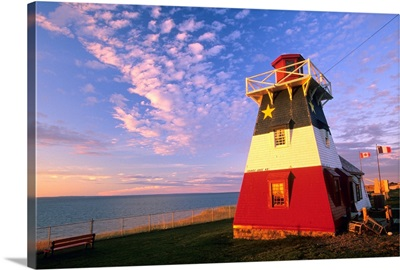 Lighthouse Painted In Colours Of The Acadian Flag, New Brunswick, Canada