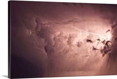 Lightning arcs between clouds during a storm, Saskatchewan, Canada