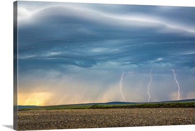 Lightning bolts over the tundra, Kokolik National Petroleum Reserve, Alaska