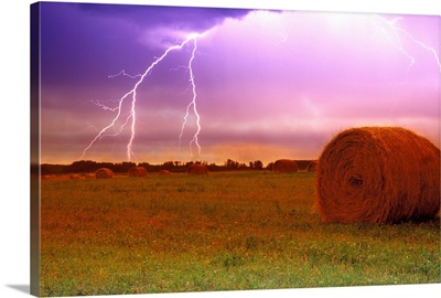 Lightning Over A Field, Alberta, Canada