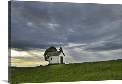 Little Chapel In Spring, Aidlinger Hohe, Upper Bavaria, Bavaria, Germany
