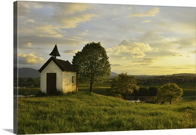 Little Chapel With Tree At Sunset In Spring, Aidlinger Hohe, Bavaria, Germany