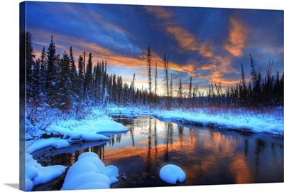 Little Hazel Creek At Sunset, Yukon, Canada