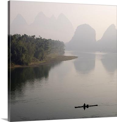 Lone Boater, Li River, Yangshuo County, Guilin, Guangxi Province, China