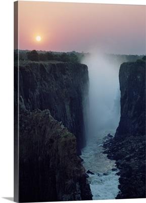 Looking Along Victoria Falls At Dusk From Zambia To Zimbabwe