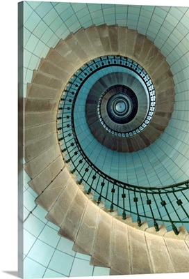 Looking Up The Spiral Staircase Of The Lighthouse, Ile Vierge, France