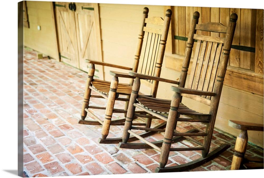Louisiana, Rocking Chairs In Oakley Plantation, Audubon State. Canvas
