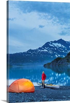 Man camping at Shoup Bay State Marine Park, Prince William sound, Valdez, Alaska