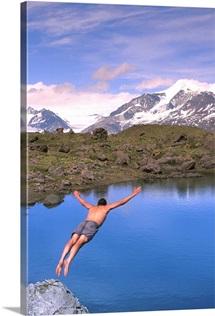 Man Dives Into Lake Fredricka Glacier, wrangell St Elias National Park
