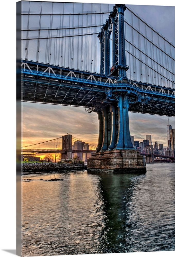 Manhattan And Brooklyn Bridges At Sunset Brooklyn Bridge