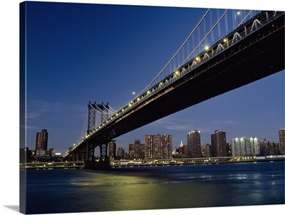 Manhattan Bridge At Dusk With The Empire State Building Behind; New York City, New York