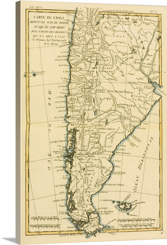 Map Of Chile And Southern Peru To Cape Horn, Circa 1760