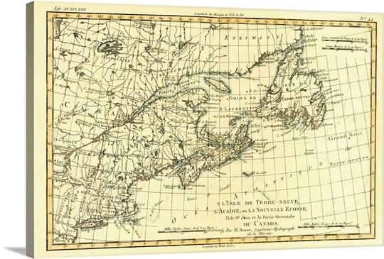map of newfoundland nova scotia and eastern canada circa 1760