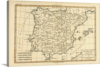 Map Of Spain And Portugal, Circa 1760