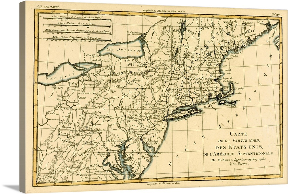 Map Of The Northern United States Of North America, Circa 1760 Wall ...
