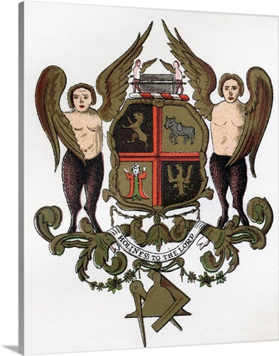 Masonic Arms Painted Panel In The Possession Of W H Y Rylands Circa ...