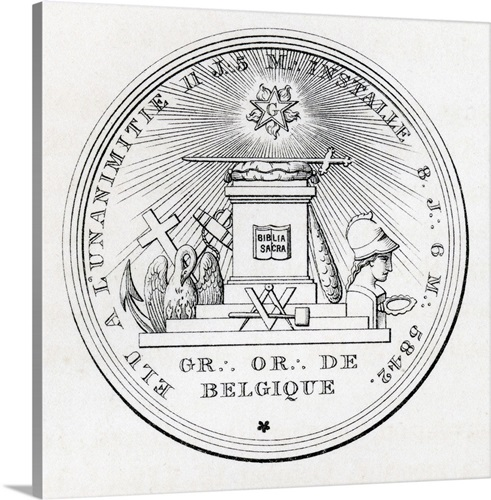 Masonic Seal Engraving From The Book History Of Freemasonry Volume III Canvas