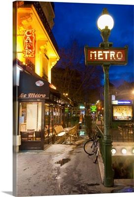 Maubert-Mutualite Metro Station And Cafe At Dawn, Paris, France