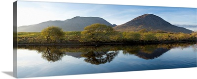 Maumturks, County Galway, Ireland, Mountains Reflected In Water