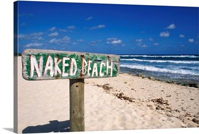 Mexico, Yucatan Peninsula, Cozumel, Naked Beach Sign In Sand