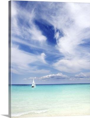 Mexico, Yucatan Peninsula, Sailboat Sailing On Turquoise Water
