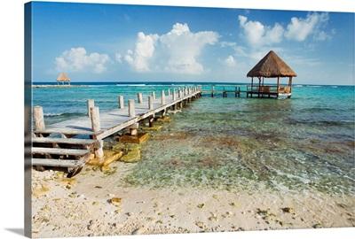 Mexico, Yucatan Peninsula, Tulum, Pier Over Turquoise Ocean