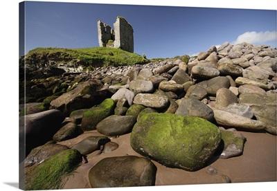 Minard Castle And Rocky Beach; Minard, County Kerry, Ireland