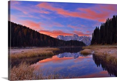 Misurina Lake With Sorapis At Sunrise In Autumn, Veneto, Dolomites, Alps, Italy