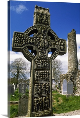 Monasterboice, Co Louth, Ireland, High Cross With Round Tower In The Distance