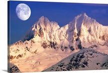 Moonrise at dawn over Mendenhall Towers Coast Mountains