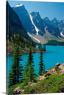 Moraine Lake And The Wenkchemna Peaks, Banff National Park, Alberta, Canada