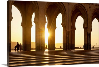 Morocco, Archways of Hassan II mosque at dusk, Casablanca