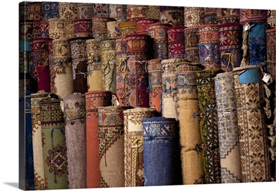 Morocco, Marrakech, Traditional rugs for sale