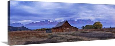 Moulton Barn With Teton Range At Sunrise In Autumn, Grand Teton National Park, Wyoming