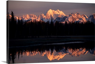 Mount Mckinley at sunset reflected in nearby pond