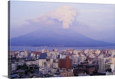 Mount Sakurajima Erupting In Front Of Skyline