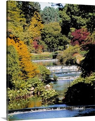 Mount Usher Gardens, River Vartry, Co Wicklow, Ireland; River Through A Garden