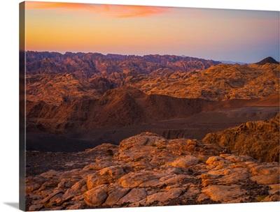 Mountain scene at sunset, near Tabuk, Saudi Arabia