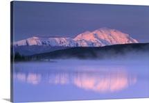 Mt McKinley Over Wonder Lake in Morning Mist Denali NP IN AK Summer