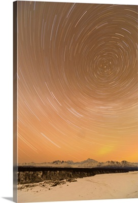 Night View Of Star Trails Over Mt. McKinley, Denali State Park, Southcentral Alaska