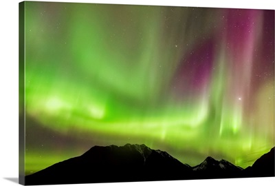 Northern Lights in the sky above Moose Pass, Alaska