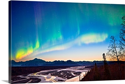 Northern Lights in the sky above Mount McKinley at twilight, Alaska