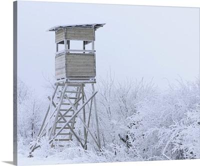 Observation Tower In Winter, Mathesberg, Rhon, Hesse, Germany