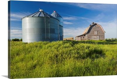 Old Barn With Metal Grain Bins, Ponteix, Saskatchewan, Canada