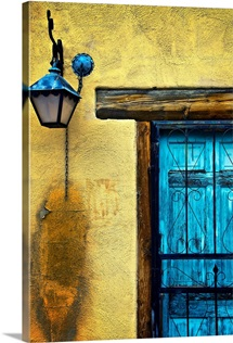 Old Blue Door And Yellow Wall, New Mexico