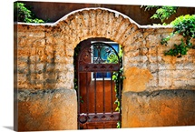 Old Stone Doorway And Garden, New Mexico