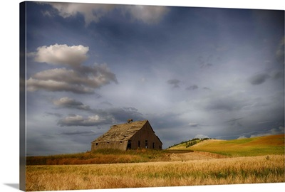 Old wooden barn in a wheat field under a cloudy sky, Palouse, Washington