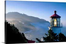 Oregon, View Of Heceta Head Lighthouse In Early Morning Sun